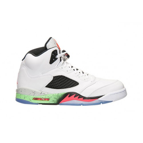 Authentic 136027-115 Air Jordan 5 Retro White/Infrared 23-Light Poison Green-Black