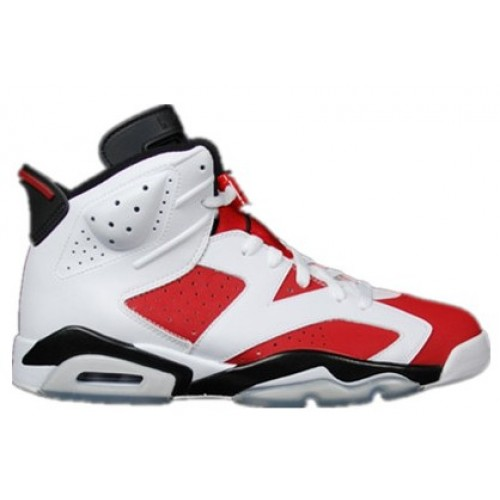 Authentic 384664-160 Air Jordan 6 Retro White/Carmine-Black Men's Shoe