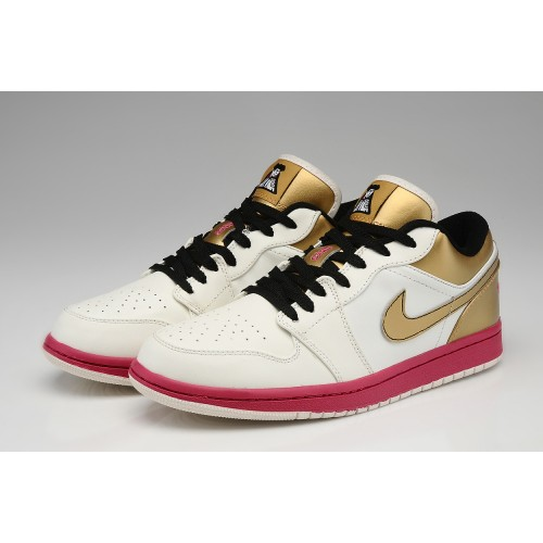 Air Jordan 1 Retro 2013 Low Casino Limited Color White Gold Red Mens Shoes