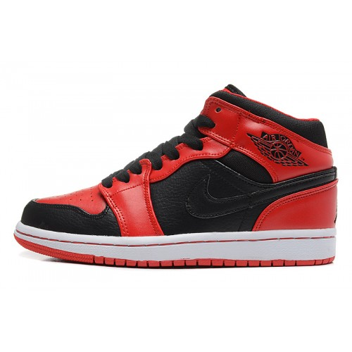 554724-005 Air Jordan 1 Mens Mid Black Varsity Fire Red Shoes