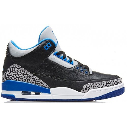 Authentic 136064-007 Air Jordan 3 Retro Black/Sport Blue-Wolf Grey