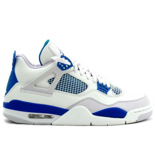 308497-105 Air Jordan Retro 4 (IV) 2012 Military Blue White Neutral Grey A04007(Women Men Gs Girls)