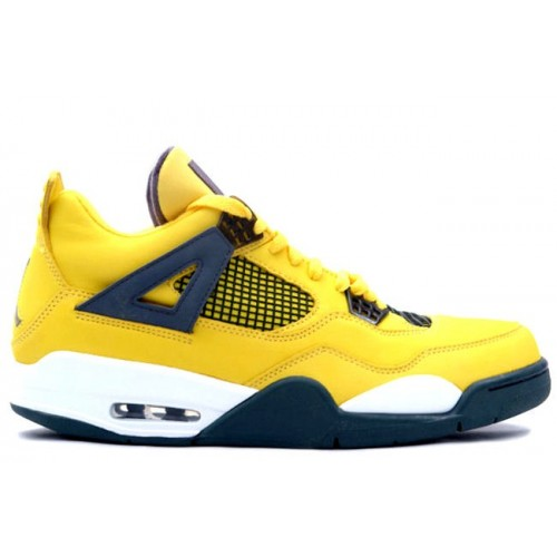 314254 702 Air Jordan IV 4 Retro Mens Basketball Shoes Tour Yellow Grey A04012