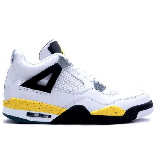 314254 171 Air Jordan IV 4 Retro Mens Basketball Shoes White Tour Yellow A04011