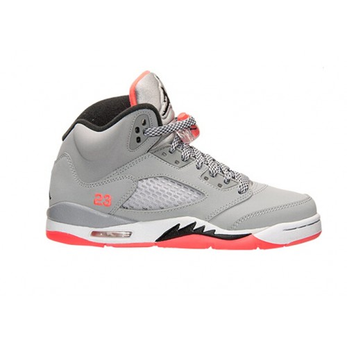 Authentic 440892-018 Air Jordan 5 Retro Girls Wolf Grey/Black-Hot Lava-White